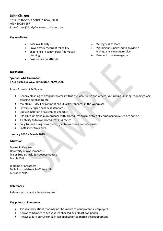 House Cleaning Resume Examples - Examples of Resumes