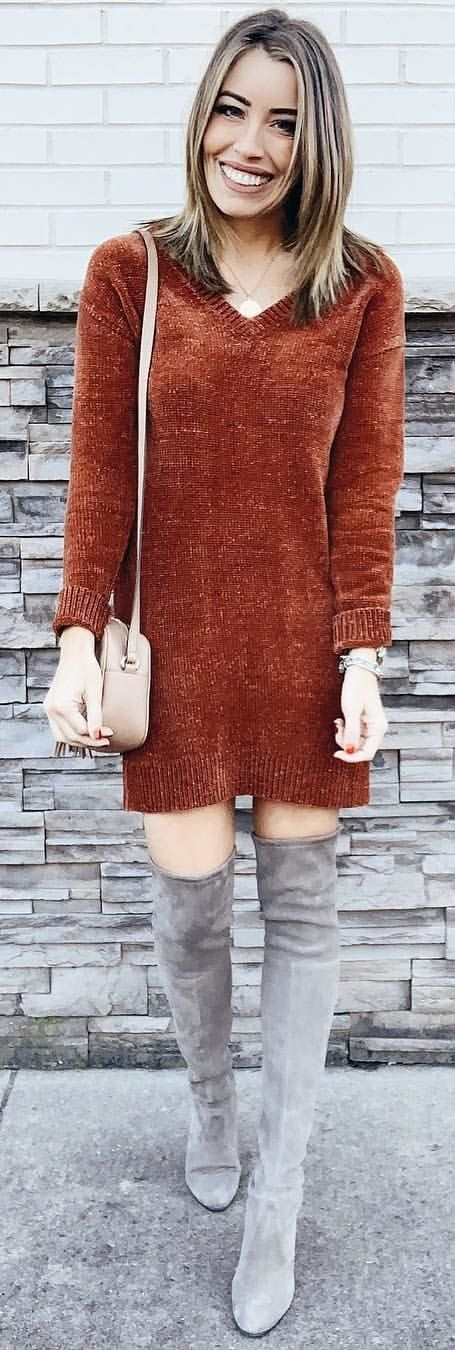 brown V-neck long-sleeved dress