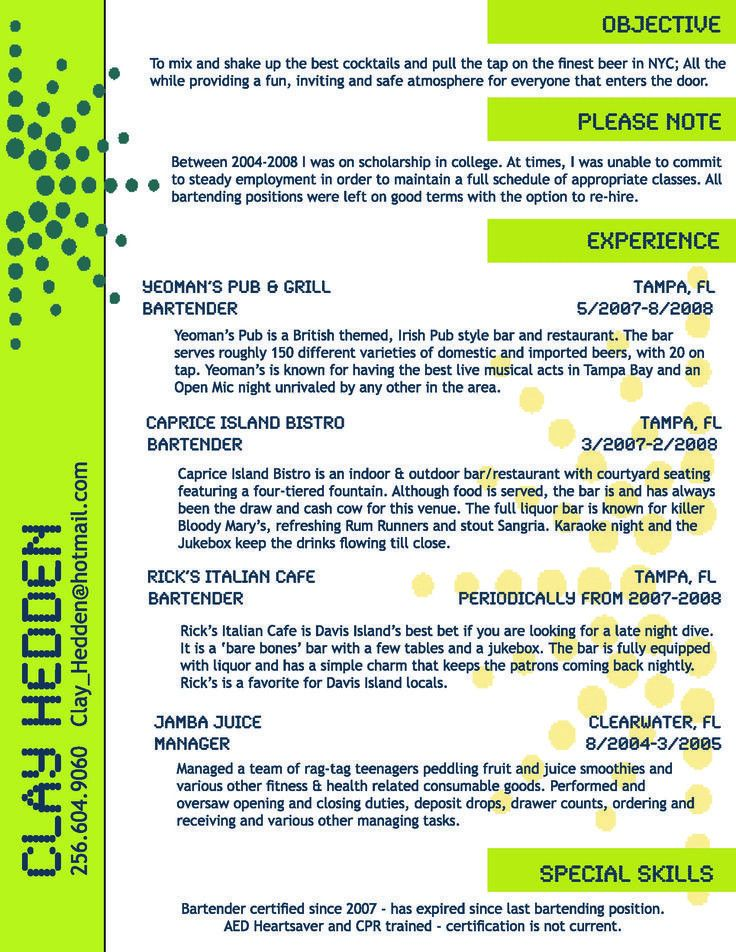 Bartending Resume Example Unforgettable Bartender Resume Examples - examples of bartending resumes