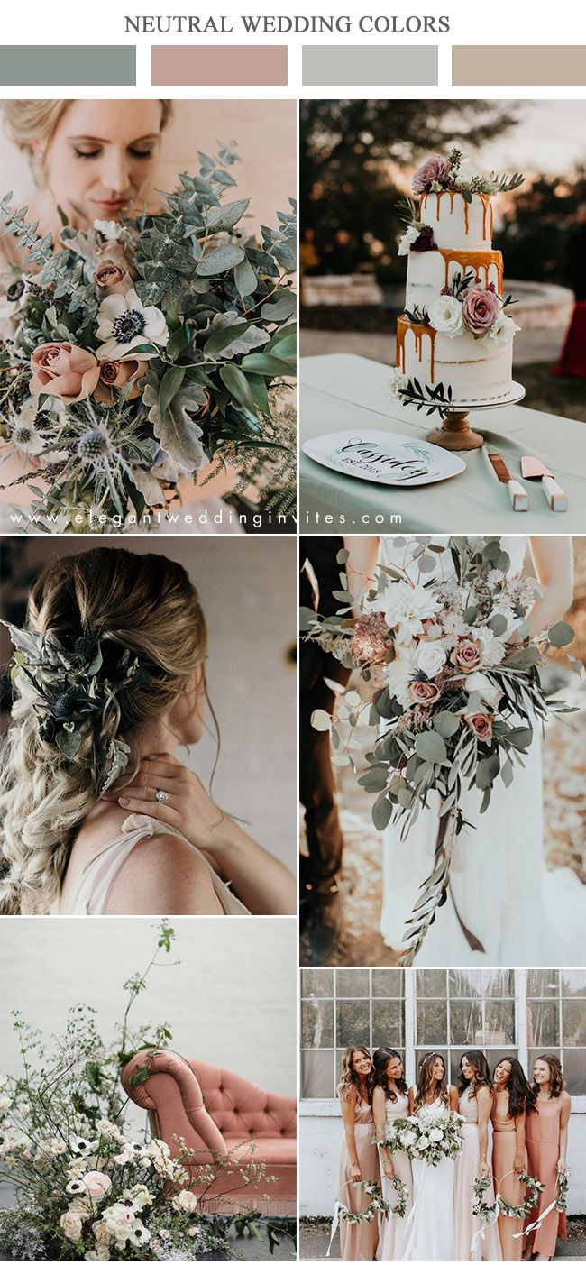 organic lush sage green and dusty rose moody neutral wedding color inspiration #weddingcolors #ElegantWeddingInvites