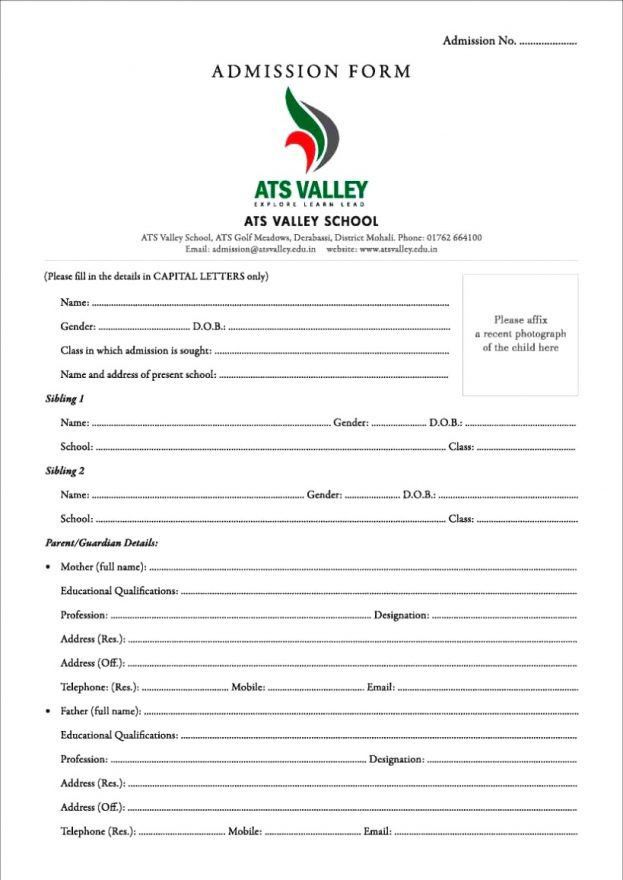 Format Of Application For Admission In School Admission - format of admission form