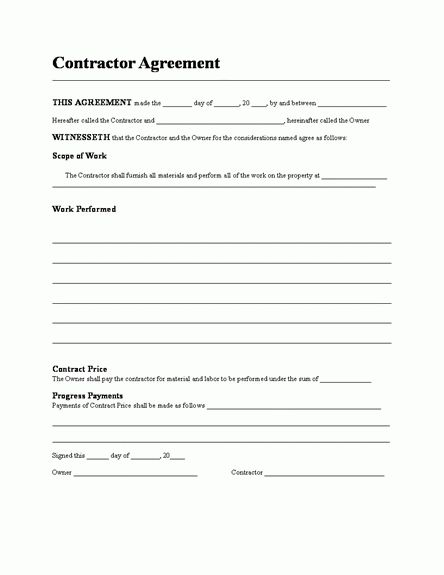 Contractor Agreement Template Word Sample Contract Agreement 43 - sample independent contractor agreement