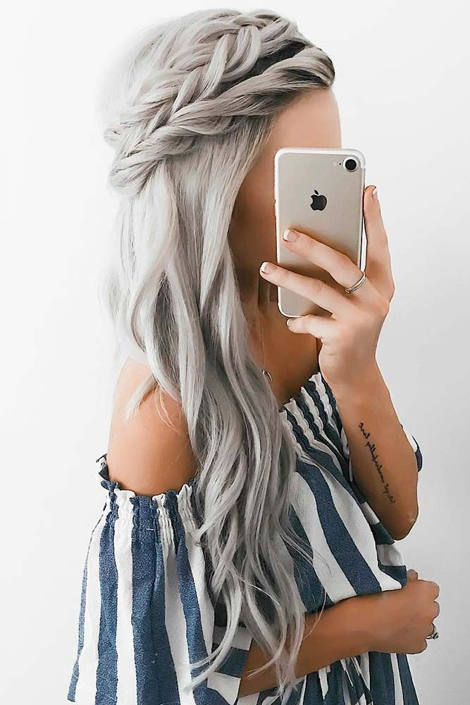 Sweety Braided Crown For Long Hair #braidedhairstyles #ashhair ★ Are you looking for cute hairstyles that are trendy, as well? We have gathered the loveliest hairstyles that are ideal to wear on a first date. #glaminati #lifestyle #cutehairstyles