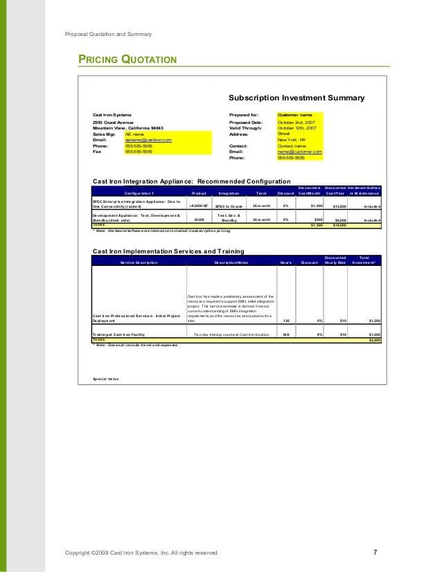 Pricing Proposal Template 9+ excel proposal templates -free - price proposal template