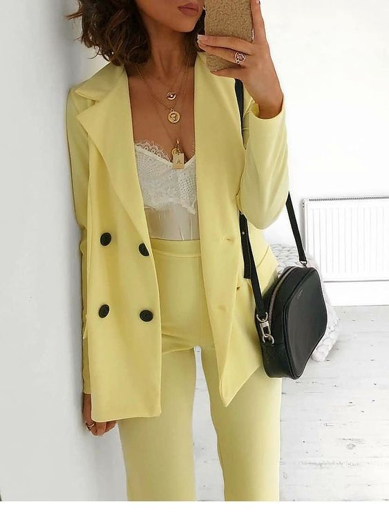 Cool yellow office suit with white top