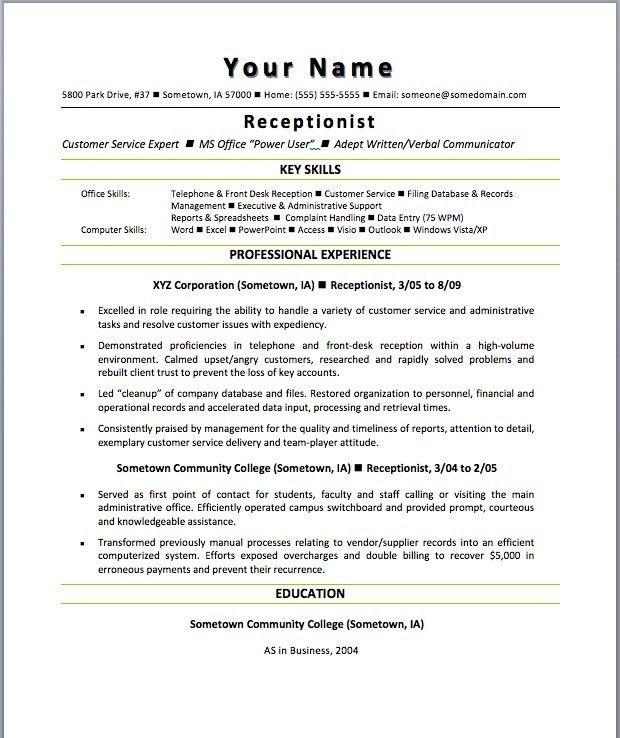 Receptionist Resumes Samples Unforgettable Receptionist Resume - receptionist objective for resume