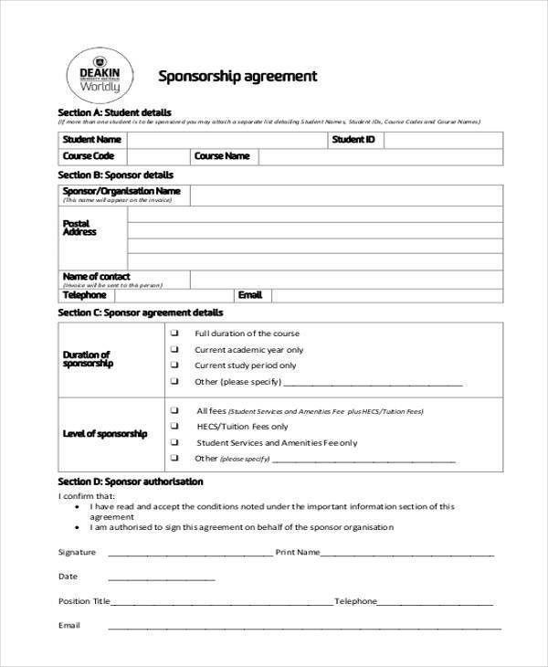 Sample Sponsor Form Free Sponsorship Form Template Word Excel Pdf - sponsorship contract template