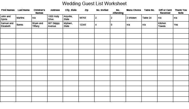 Wedding Planning Guest List Template 7 Free Wedding Guest List - guest list sample