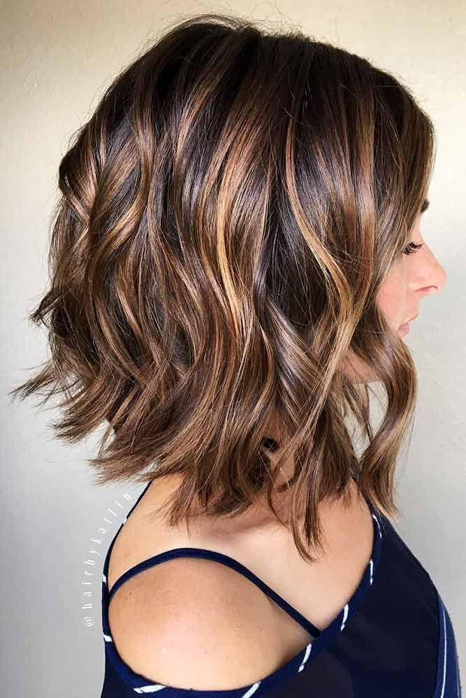 Long Inverted Bob Cut With Highlights #hairhighlights #wavyhair ★ All the inverted bob hairstyles: stacked, choppy, short, curly, with side bangs, with layers, are gathered here! #glaminati #lifestyle #invertedbob