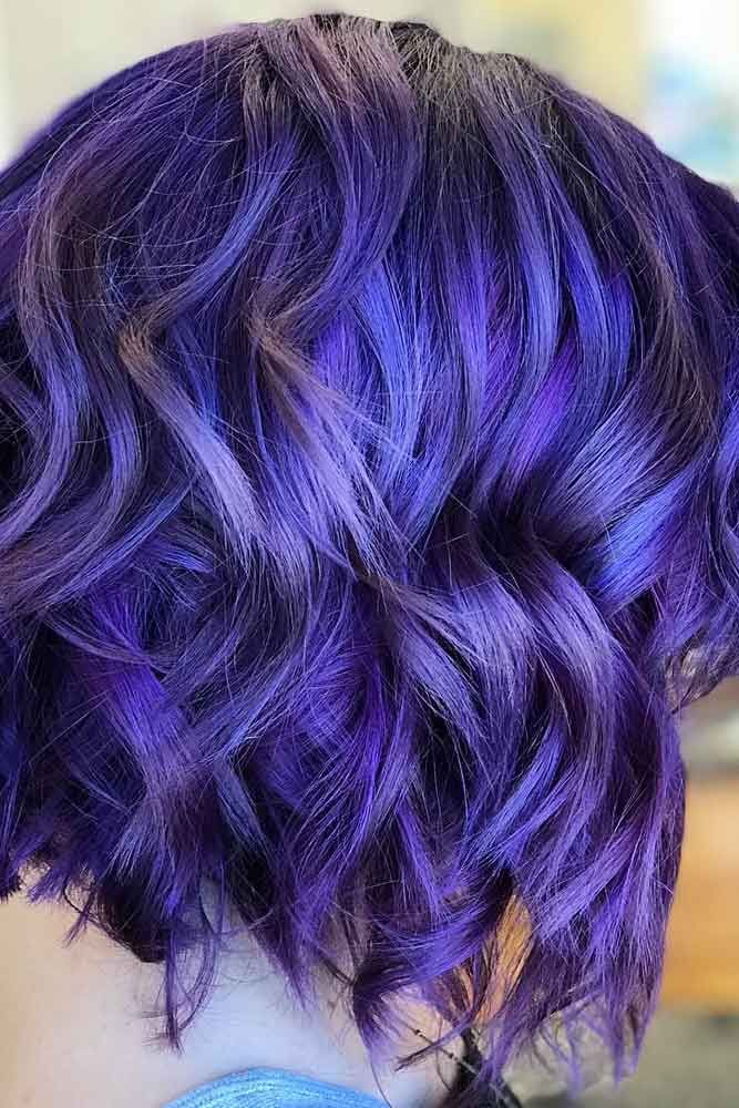 Blue Velvet And Purple Wavy Bob #wavyhairstyles  #bluehair ★ Purple hair is something that every girl who loves being different should try in her life. And if you think that such a bright color is not for you, we will show you how you can make it work for your image. Amazing lavender highlights, light lilac balayage, deep purple ombre, pastel looks, and ethereal aesthetic of purple color are waiting for you! #glaminati #lifestyle #purplehair