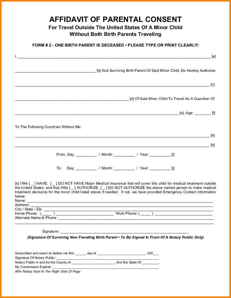 parental consent form template