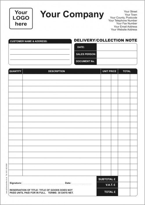Delivery Notes | Printwise Online News  Dispatch Note Template
