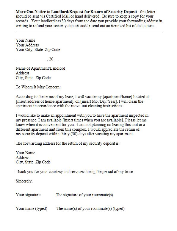 Sample Letter To Notify Landlord Of Moving Tenant Move Out Notice - notice to vacate template