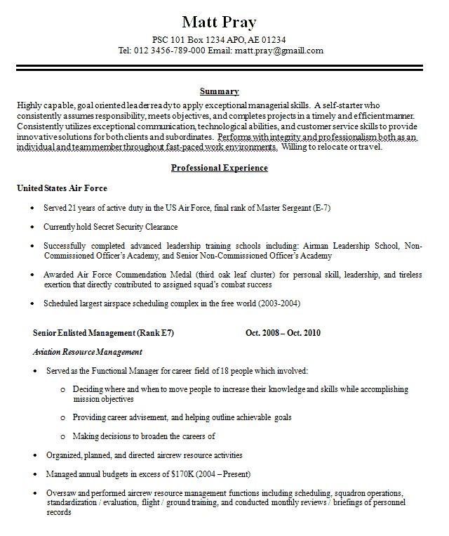 Military Resume Example Military Resume Example Sample Military