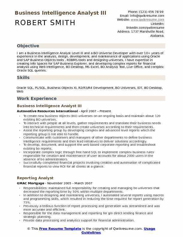 business objects resume samples