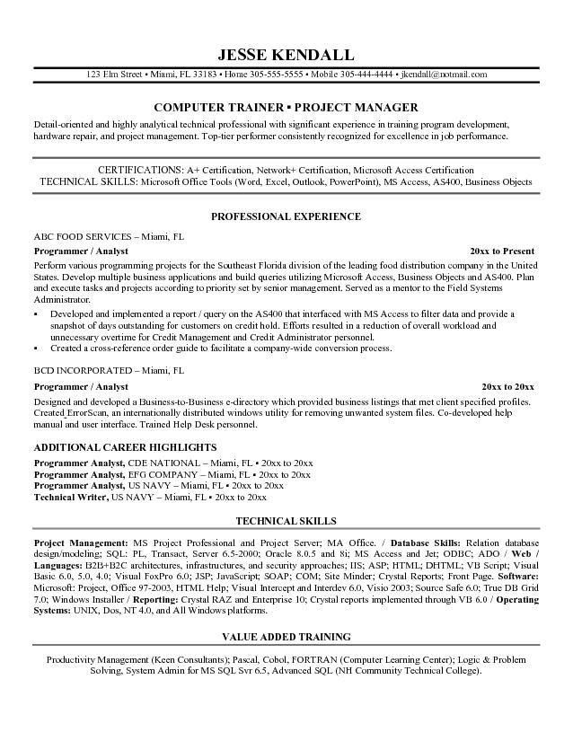 program analyst sample resume professional federal program