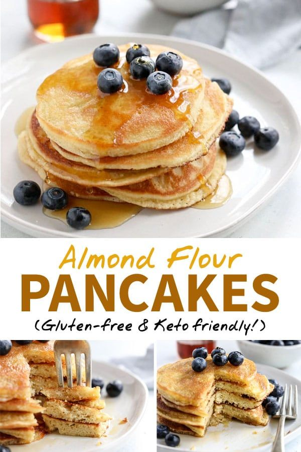 These are the best ALMOND FLOUR PANCAKES I've ever tasted! Made with just 5 main ingredients, they are low-carb, keto-friendly, and taste AMAZING. (Gluten-free, too!) #keto #pancakes