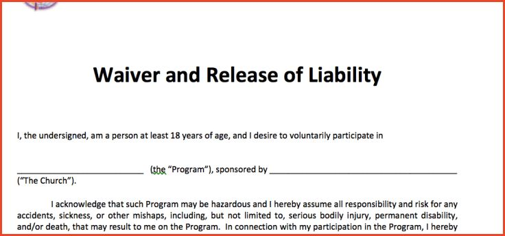 RELEASE OF LIABILITY FORM TEMPLATE | Proposalsheet.com  Liability Waiver Sample