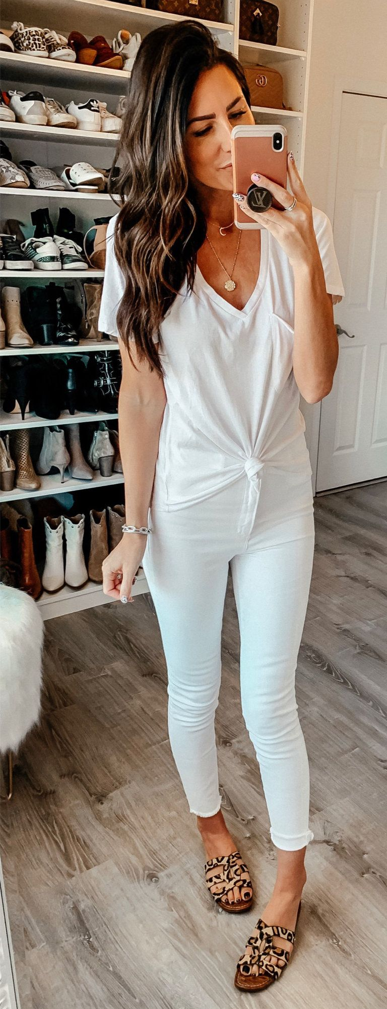 white v-neck shirt #spring #outfits