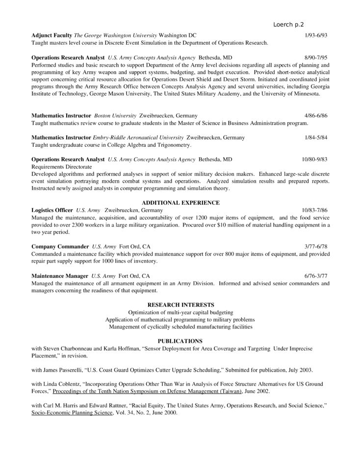 Operations Research Analyst Resume Images - free resume templates