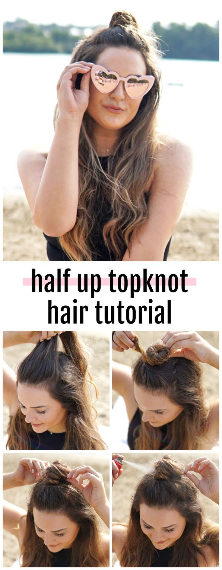 Such an easy hair tutorial! | Fashion, beauty and lifestyle blogger Michelle Kehoe of Mash Elle shares an easy, half up topknot hairstyle for long hair. You can style this hairstyle with straight hair, curled hair, loose waves etc. This tutorial takes und