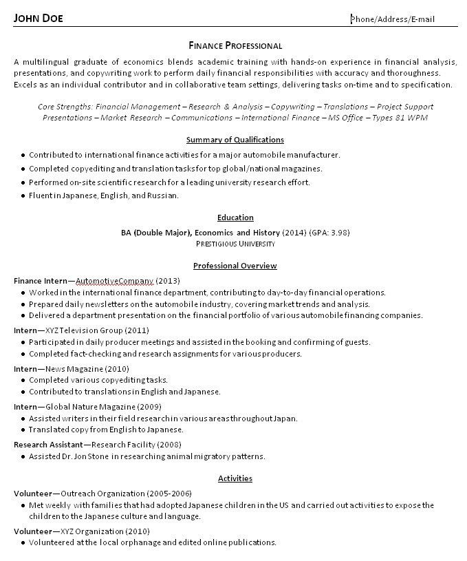 Resume Examples For Recent College Graduates - Examples of Resumes