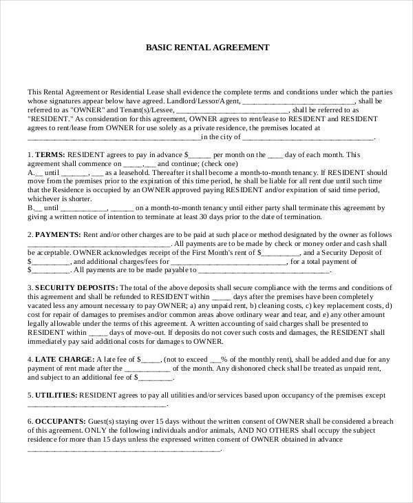 Office Rental Agreement Format Commercial Rental Agreement 11 - sample security agreement