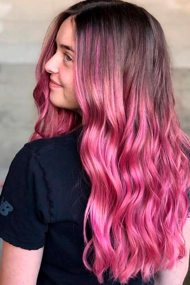 Pink Highlights For Brunettes #wavyhair #ombrehair ★ Pink hair color is full of surprises. Moreover, it can be different; as different as you want! Dive in to see the latest rose ideas. Besides hot bright highlights for long hair and pastel ombre for short locks, we've prepared a little product review for your successful DIY coloring! #glaminati #lifestyle #pinkhair