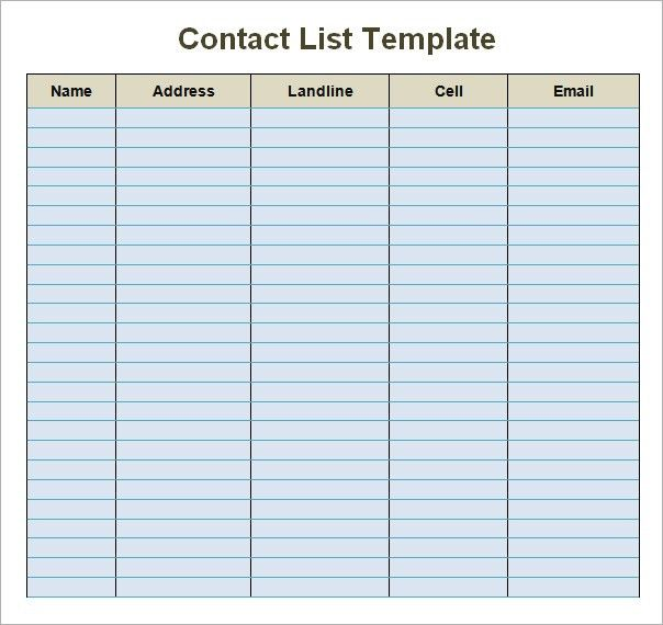 Contacts List Template Free Contact List Template Customizable - contact list template