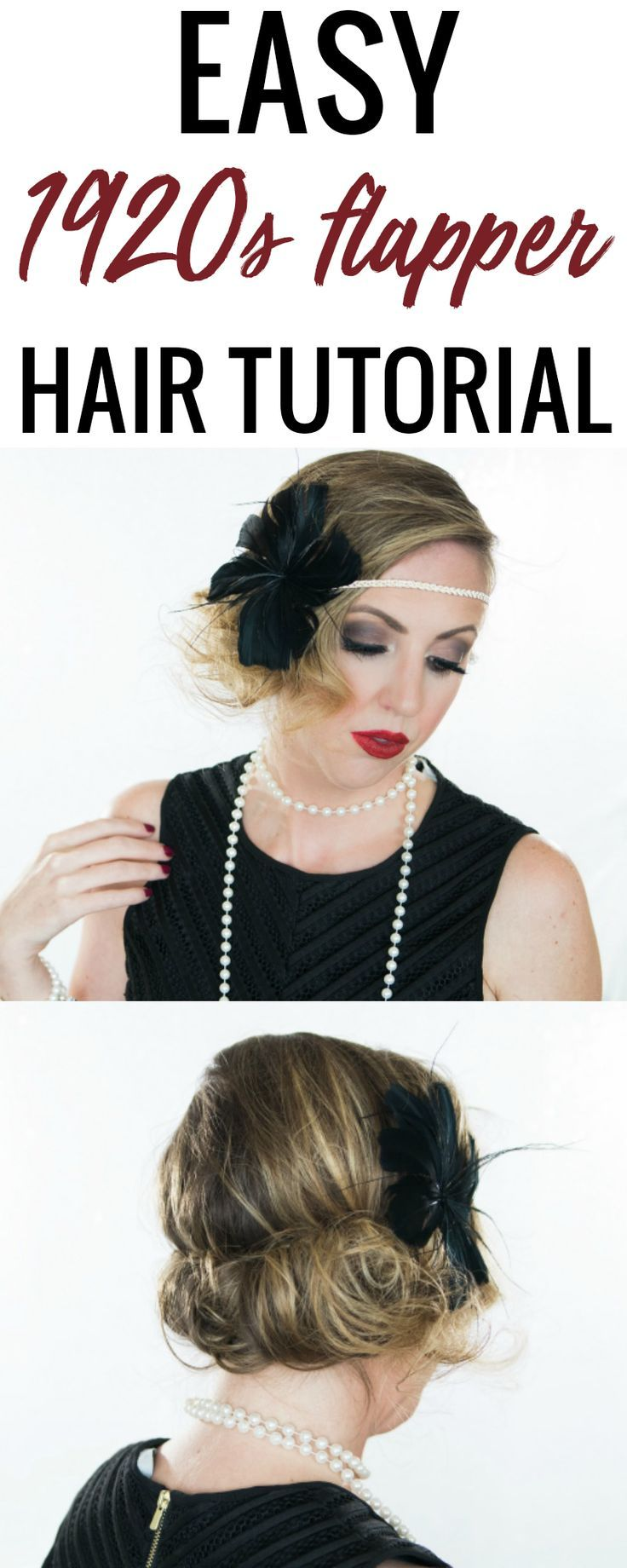 This 1920s flapper hair tutorial is SO easy! #halloweenhairtutorial #hairtutorial #flappergirlhair