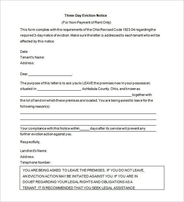 Letter Of Eviction Template Sample Eviction Notice Template 37 - eviction notice pdf