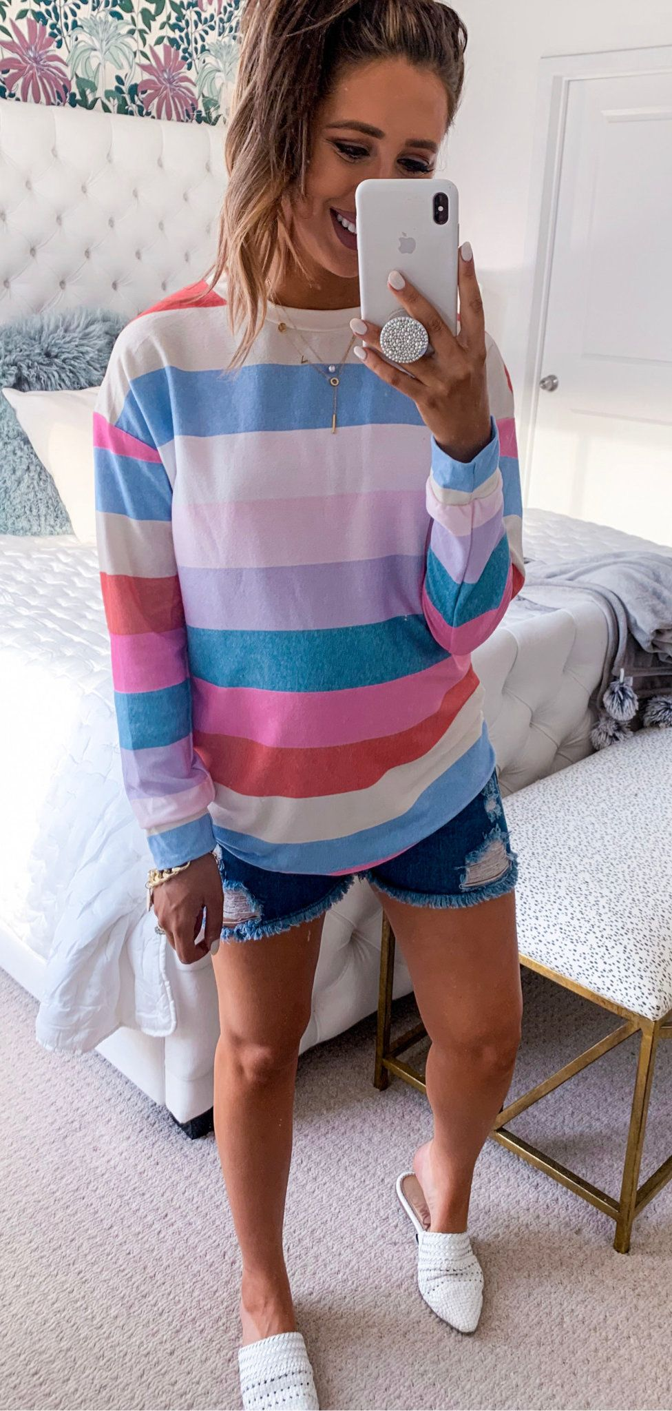 multicolored striped sweatshirt #summer #outfits