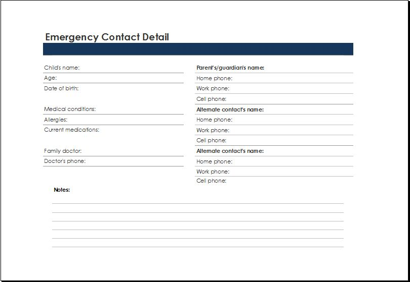 Emergency Phone Number List Template Emergency Contact List - phone list templates