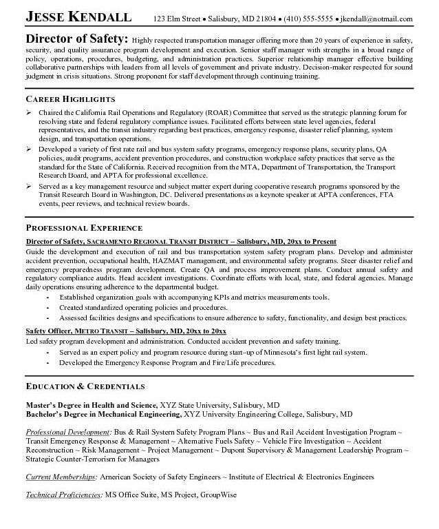 Ehs Resume Examples - Examples of Resumes