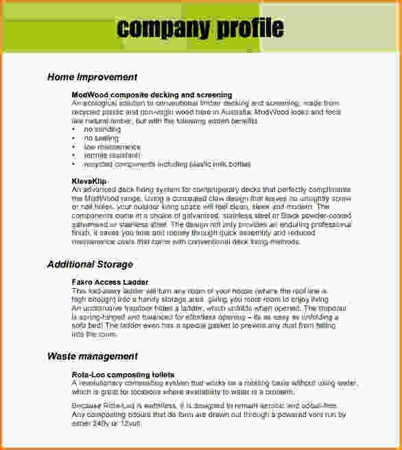 Company Business Profile Sample Sample Business Profile 5 - sample company report