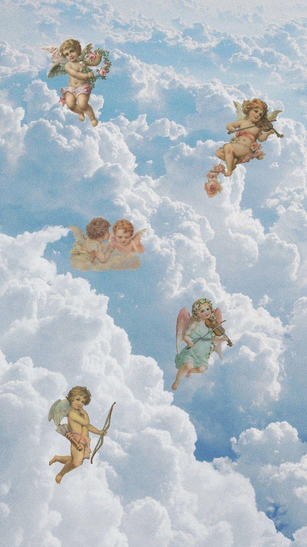 Angels Aesthetic Clouds Sky Blue Wallpaper In 2019 Angel