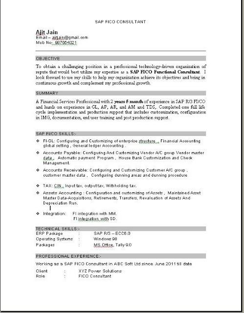 sap abap resume for 2 years experience sap experience resume sap