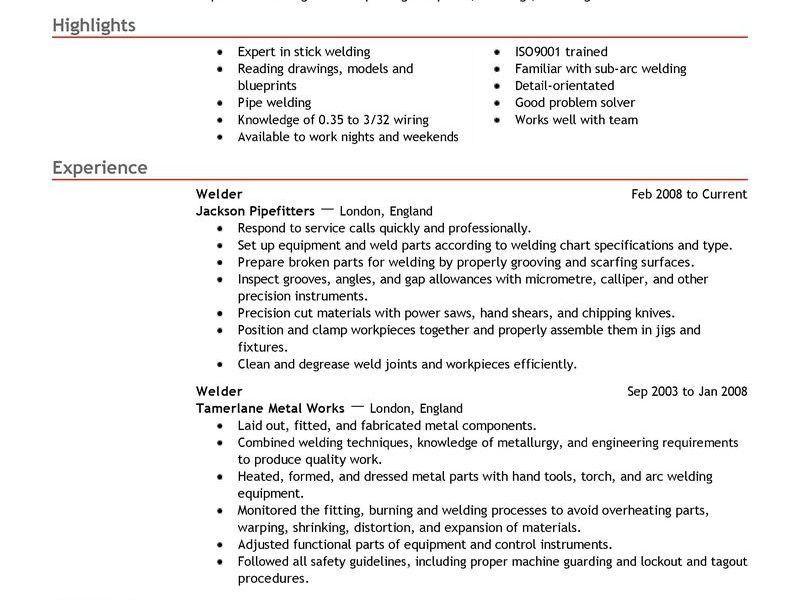Fabricator Welder Sample Resume] Fabricator Welder Cv Sample ...