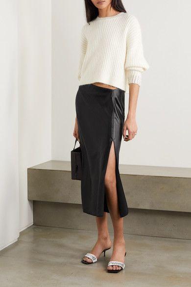 alexanderwang.t | Wash and Go asymmetric satin midi skirt | NET-A-PORTER.COM