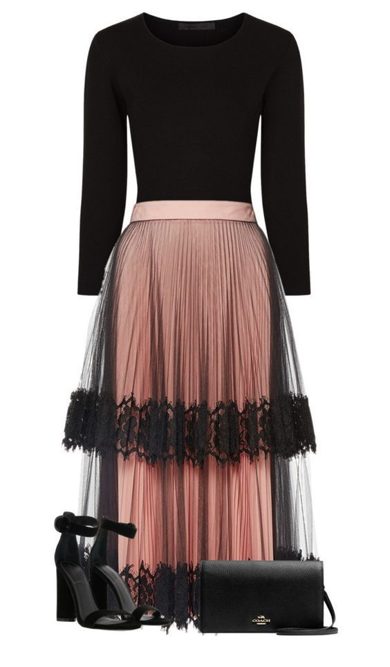 Black blouse and tulle skirt