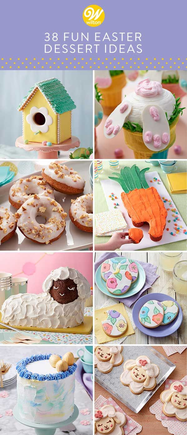 Make spring a little sweeter with this collection of creative Easter desserts. From simple cakes and cupcakes to candy-filled eggs and carrot cake donuts, these Easter dessert ideas have a little something for every-bunny! #wiltoncakes #blog #blogpost #blogger #blogging #homemade #baking #dessert #desserttable #dessertideas #easter #easterbaking #easterdessert #spring #springtime #holiday #flowers #lamb #carrot #cakes #cookies #donuts #treats #easterbunny #bunny
