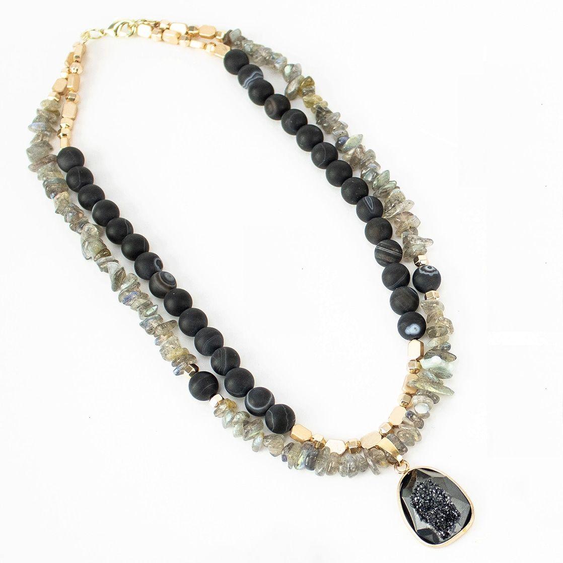 Labradorite and Black Druzy Halloween Necklace