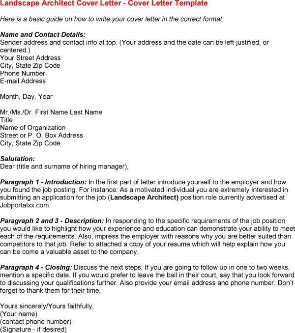 landscape architect cover letter