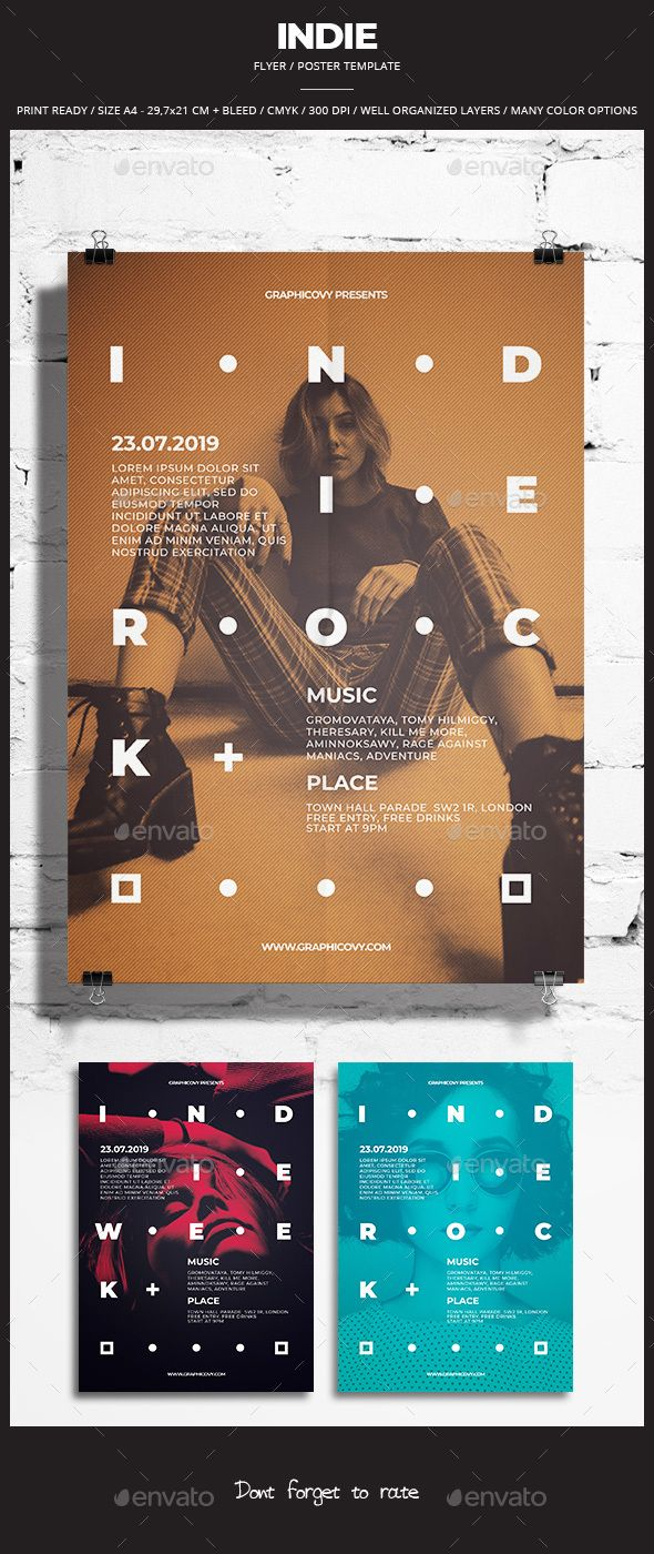 Indie Flyer / Poster 27. Customizable professional template for an event flyer. #FlyerTemplate #flyer #event #GraphicTemplate #design #PrintDesign #alternative #artist #badge #band #concert #cover #flat #gig #grunge #indie #light #movie #music #page #party #pattern #photoshop #pixel #post #poster #print #PrintReady #psd #retro #ribbon #rock #vintage #week