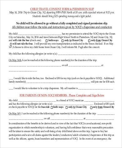 Permission For Child To Travel 9 Best Sample Permission Letters - travel consent form sample
