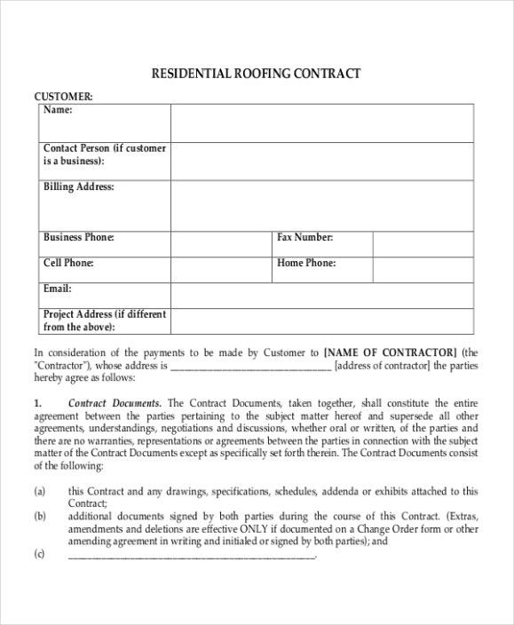 Roofing Contract Form 5 Roofing Contract Templates Free Pdf - sample contract amendment template