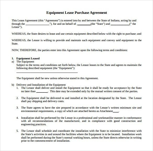 Terms And Agreements Template Sample Terms Of Service Template - equipment lease agreement template