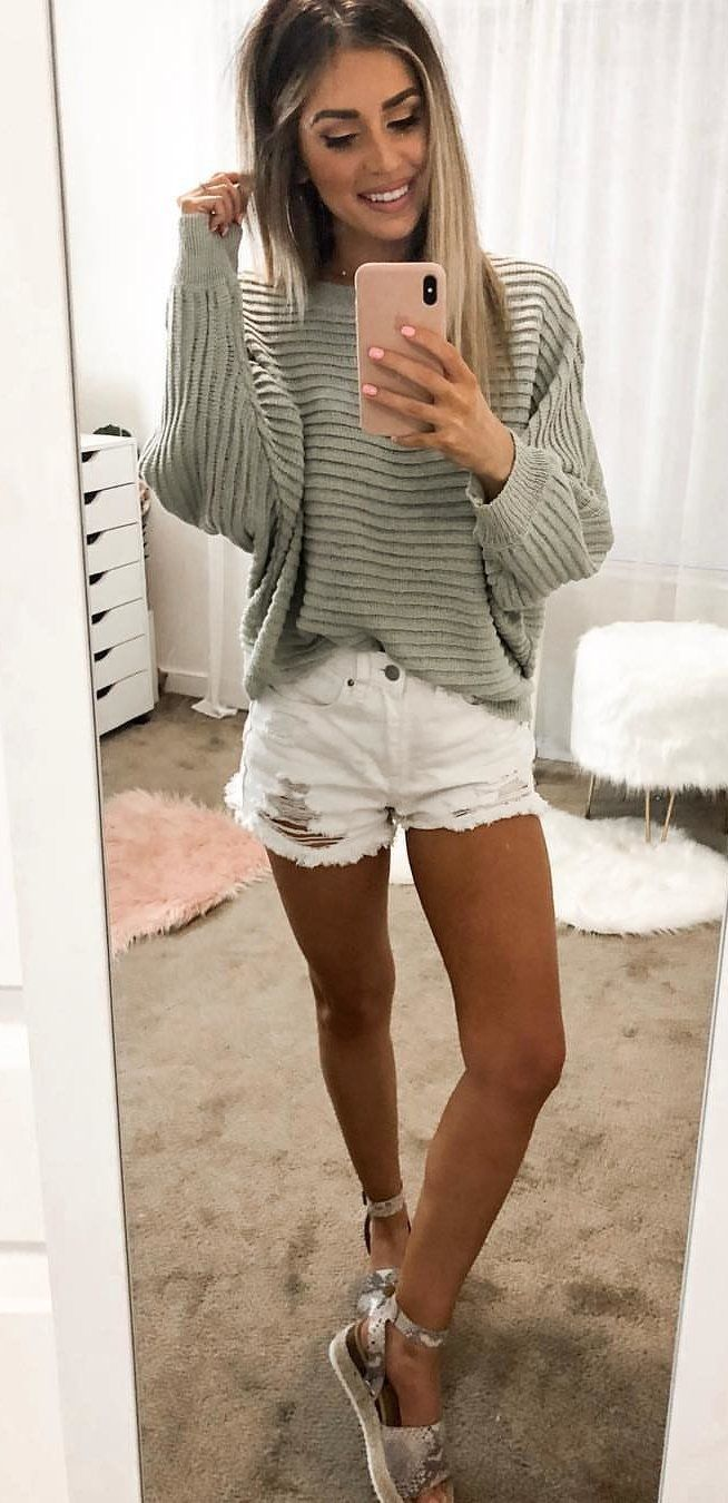 white denim shorts #spring #outfits