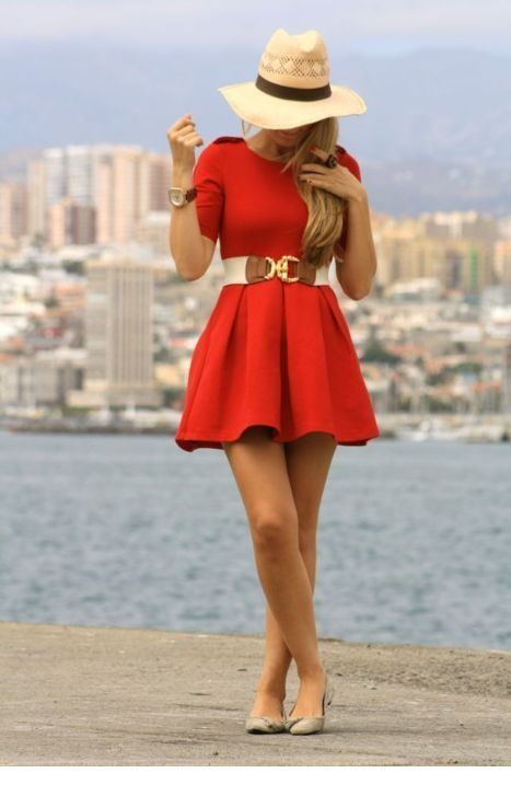 Chic red dress and some details
