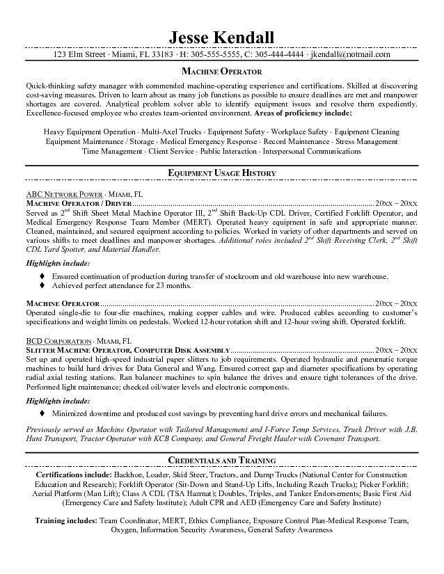 Machine Operator Resume Examples - Examples of Resumes